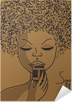 Poster autocollant Silhouette de chanteur avec les notes musicales cheveux