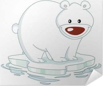 Tableau Sur Toile Smiley Polar Bear Debout Sur Une Banquise Pixers Nous Vivons Pour Changer