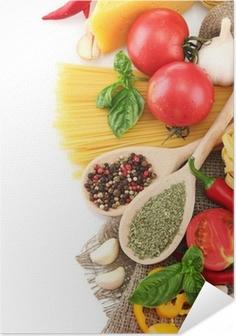 Poster autocollant Spaghetti, légumes et épices, isolé sur blanc
