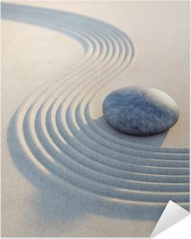 Poster autocollant Stein und Wellen im Hochformat de sable