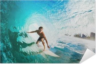 Poster autocollant Surfer sur la vague Ocean Blue dans le tube Obtenir Barreled