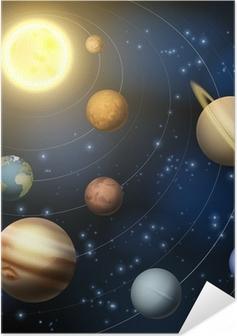 Poster autocollant Système solaire planètes illustration