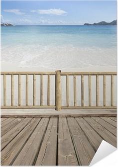Poster autocollant Terrasse-balcon avec vue sur mer aux Seychelles