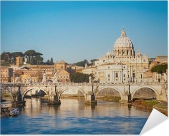 Poster autocollant Tibre et la cathédrale Saint-Pierre, Rome