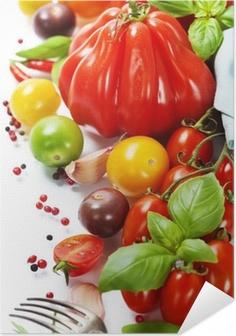 Poster autocollant Tomates fraîches et fines herbes - concept d'une saine alimentation