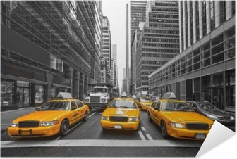Poster Autocollant TYellow taxis à New York City, USA.