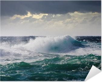Poster autocollant Vagues de la mer pendant la tempête