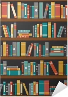Poster autocollant Vecteur de livres de bibliothèque étagère fond