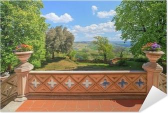 Poster autocollant Vue de la terrasse du château. Novello, Italie du Nord.