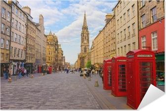 Poster autocollant Vue sur la rue d'Edimbourg, Ecosse, Royaume-Uni
