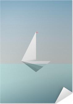 Poster autocollant Yacht icône symbole dans un style moderne de poly faible. Vacances d'été ou vacances Voyage fond. métaphore d'affaires pour la liberté et la réussite.