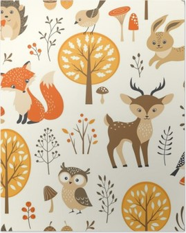 Autumn forest seamless pattern with cute animals Poster