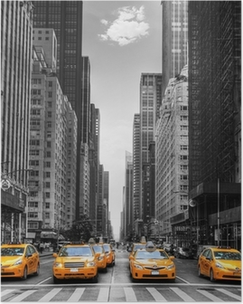 Poster Avenue des taxis with à New York.