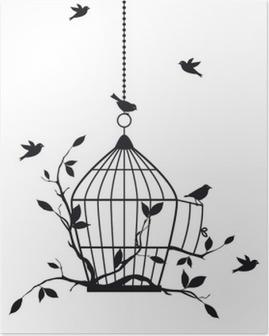 Póster Aves libres con jaula abierta, vector