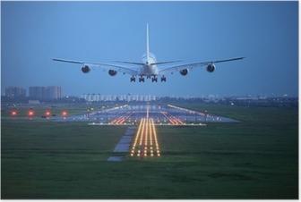 Poster Avion de voler au-dessus de la piste de décollage de l'aéroport