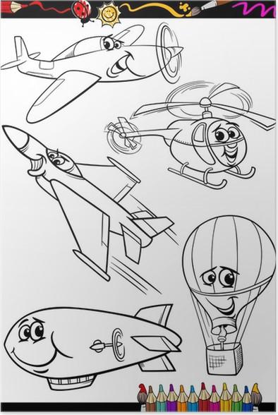 Póster Aviones de la historieta fijada para libro para colorear ...