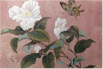 Poster Azalea bloem en vlinder