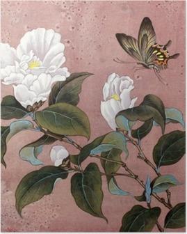 azalea flower and butterfly Poster