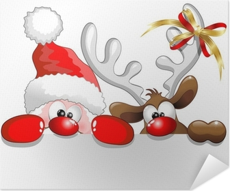 Babbo Natale e Renna-Santa Claus and Reindeer Background Poster