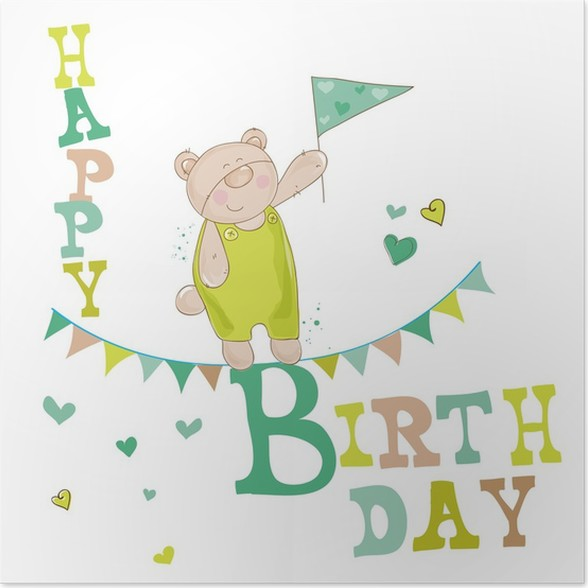Baby Bear Birthday Card For Invitation Congratulation Poster