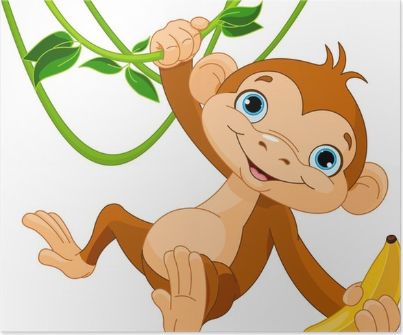 baby monkey on a tree poster