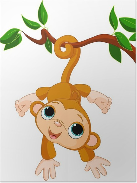baby monkey on a tree poster wall decals