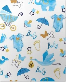 Poster Baby shower jongen naadloze patroon. vector aquarel kinderen achtergrond.