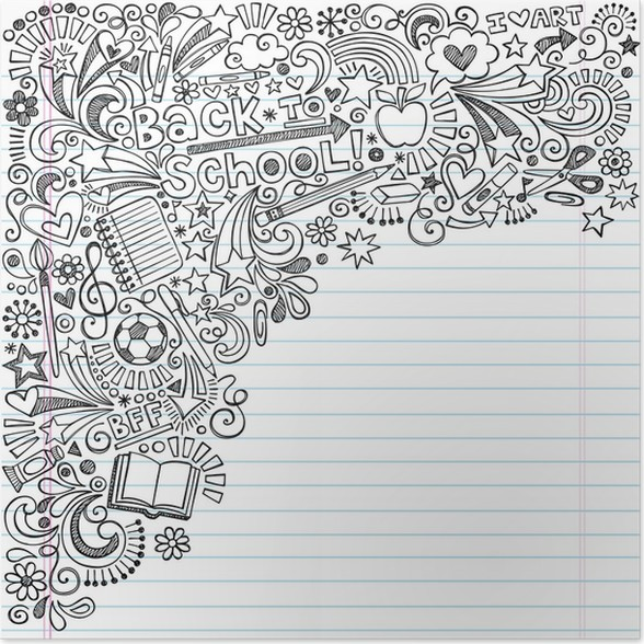 Back to school inky doodles vector on notebook paper background back to school inky doodles vector on notebook paper background poster altavistaventures Image collections