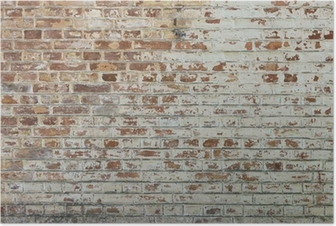 Background of old vintage dirty brick wall with peeling plaster Poster