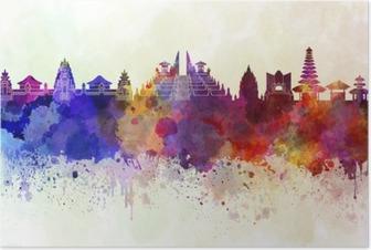 Poster Bali skyline en fond d'aquarelle