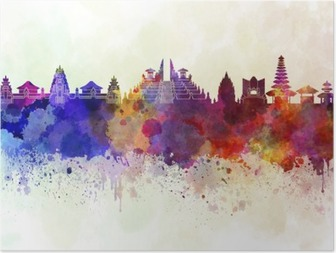 Bali skyline in watercolor background Poster