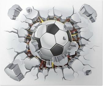 Poster Ballon de football passant à travers un mur