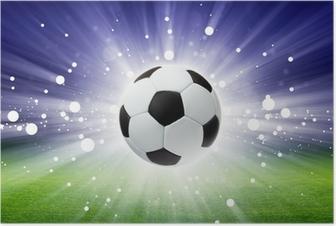 Póster Balón de fútbol, el estadio, la luz