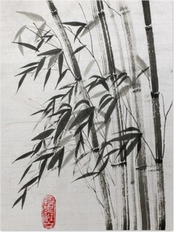 Poster Bamboe is een symbool van een lang leven en welvaart
