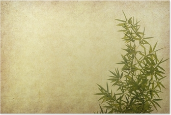 bamboo on old grunge paper texture background Poster