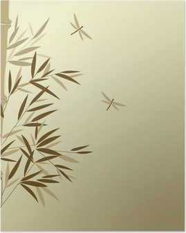 Bamboo with dragonflies in Chinese painting style Poster