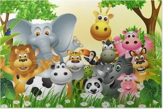 Poster Bande dessinée animale drôle avec le fond de la forêt tropicale