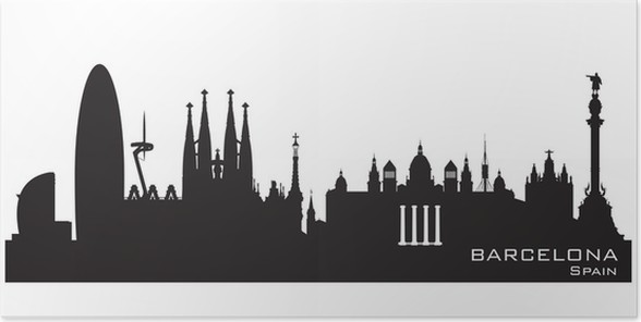 Barcelona spain city skyline vector silhouette poster european cities