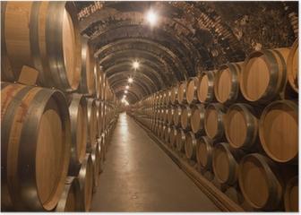 Barriles de vino en la bodega Poster