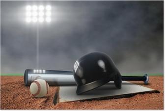 Baseball Equipment under spotlight Poster