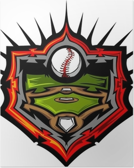 Baseball Field with Baseball Vector Image Template.Baseball Fiel Poster