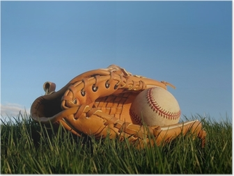 Baseball glove with ball resting in a grass field Poster