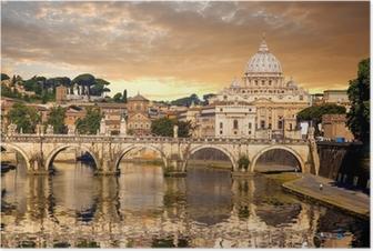 Poster Basilica di San Pietro avec pont au Vatican, Rome, Italie