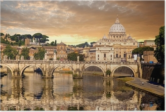 Poster Basilica di San Pietro met brug in Vaticaanstad, Rome, Italië