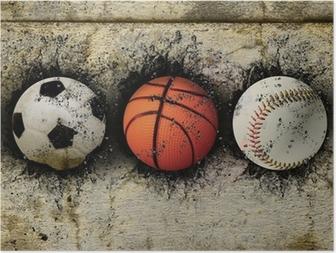 basketball, baseball and soccer Poster