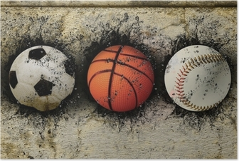 basketball, baseball and soccer Poster
