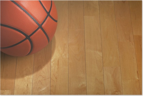 Basketball With Spot Lighting On Wood Gym Floor Poster Pixers