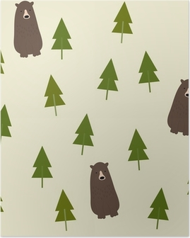 Bear and forest seamless background. Poster