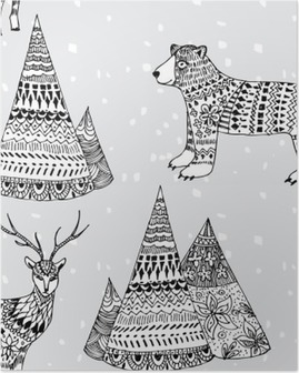 bear, deer and mountain hand drawn winter pattern Poster