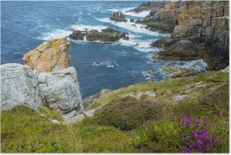 beautiful coastal cliffs in Brittany France Poster